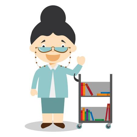 Cute cartoon vector illustration of a librarian Vettoriali