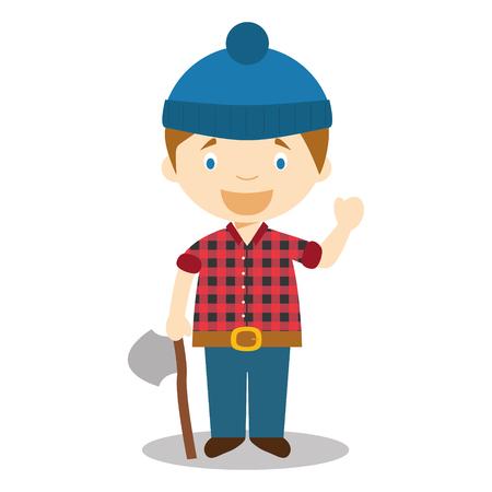 Cute cartoon vector illustration of a lumberjack