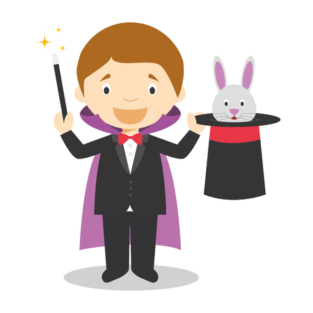 Cute cartoon vector illustration of a magician Çizim