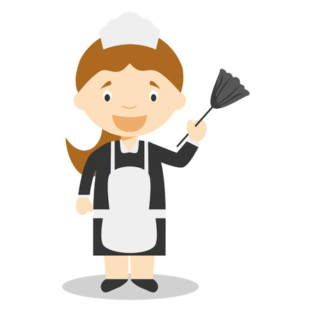 servitude: Cute cartoon vector illustration of a maid