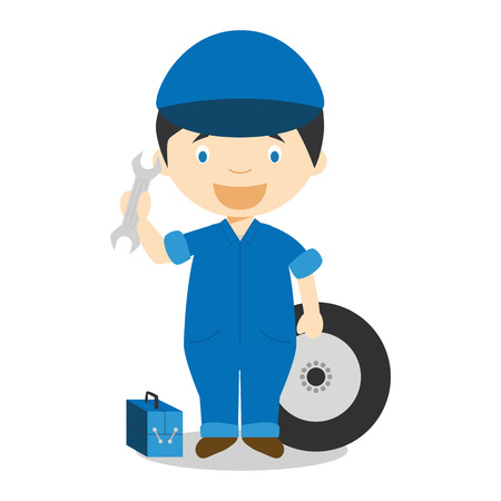 Cute cartoon vector illustration of a mechanic Illustration