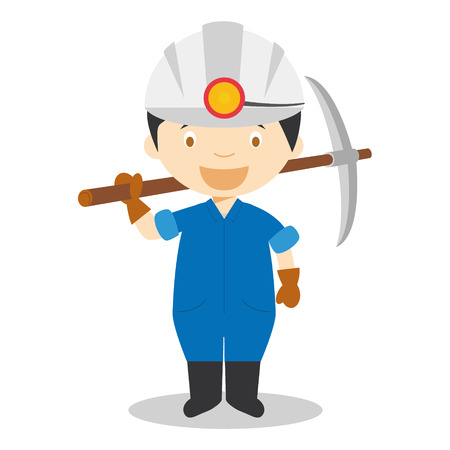 Cute cartoon vector illustration of a miner