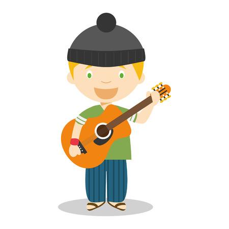 Cute cartoon vector illustration of a musician with a guitar