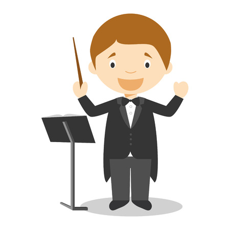 Mignon vecteur de bande dessinée illustration d'un chef d'orchestre