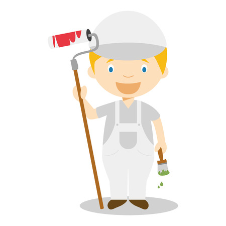 Cute cartoon vector illustration of a painter