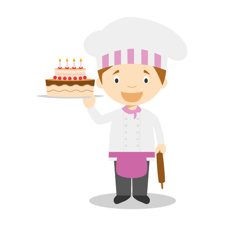 Cute cartoon vector illustration of a pastry chef Illustration