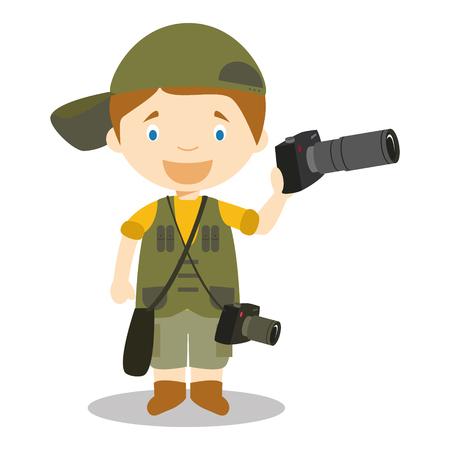 Cute cartoon vector illustration of a photographer Illustration