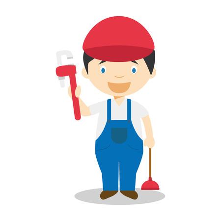 assembler: Cute cartoon vector illustration of a plumber