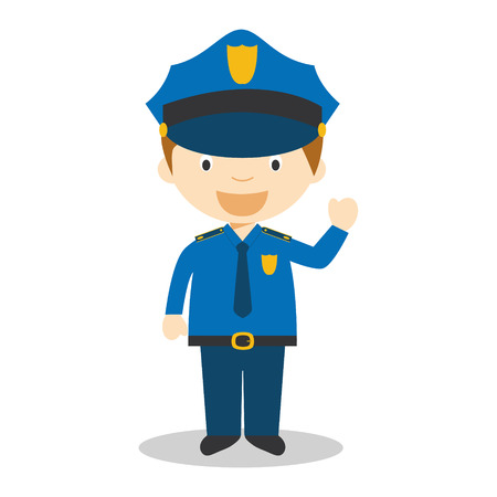 militiaman: Cute cartoon vector illustration of a policeman Illustration