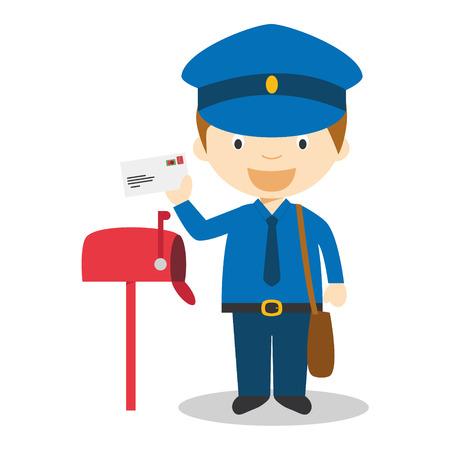 Cute cartoon vector illustration of a postman Vettoriali