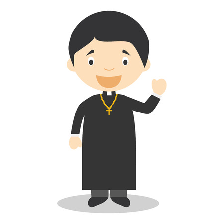 christian young: Cute cartoon vector illustration of a priest