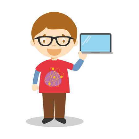 techie: Cute cartoon vector illustration of a programmer or a computer expert