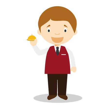 timbre: Cute cartoon vector illustration of a recepcionist