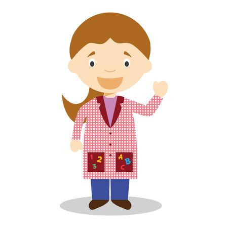 smock: Cute cartoon vector illustration of a female teacher Illustration