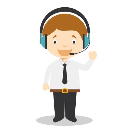 call centre girl: Cute cartoon vector illustration of a telemarketing phone operator Illustration