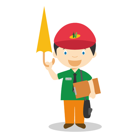 tour guide: Cute cartoon vector illustration of a tour guide