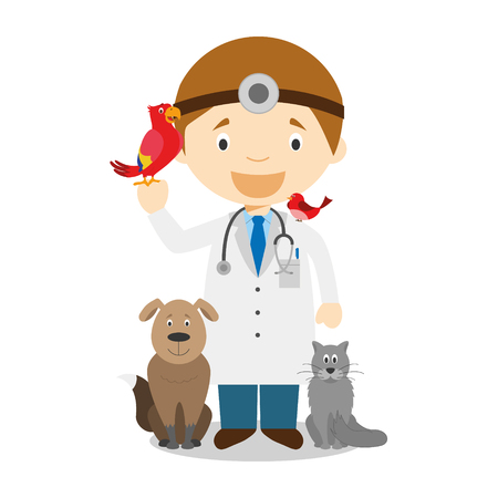 stethoscope boy: Cute cartoon vector illustration of a veterinarian