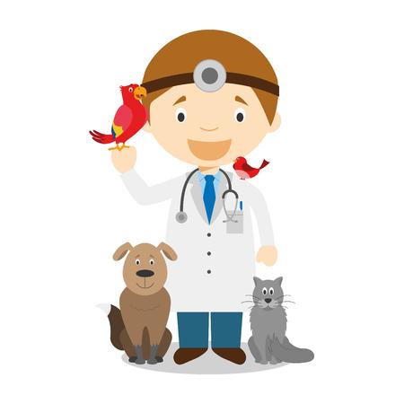 Cute cartoon vector illustration of a veterinarian