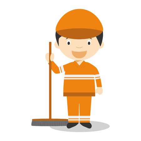 sweeper: Cute cartoon vector illustration of a street sweeper Illustration