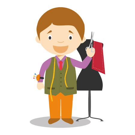 Cute cartoon vector illustration of a tailor