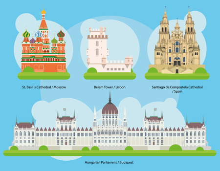 Vector illustration of Monuments and landmarks in Europe on September 2: St Basils Cathedral (Moscow), Belem Tower (Lisbon), Santiago de Compostela Cathedral (Spain) and Hungarian Parliament (Budapest). EPS 10 file-compatible and editable. Иллюстрация