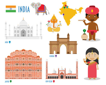 far east: India Flat Icon Set Travel and tourism concept. vector illustration Illustration
