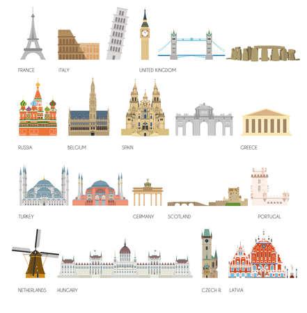 hagia sophia: Set of 20 Monuments of Europe. vector illustration