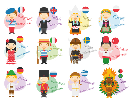 Vector illustration of cartoon characters saying hello and welcome in 12 different languages: Ingl?s, french, spanish, german, italian, russian, dutch, sweden, greek, polish, turkish or portuguese and brazilian.