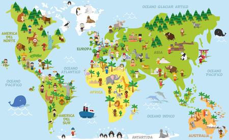 Divertente mappa del mondo del fumetto con bambini di diverse nazionalità, gli animali e monumenti di tutti i continenti e gli oceani. Nomi in spagnolo. illustrazione vettoriale per l'istruzione prescolare e design bambini.