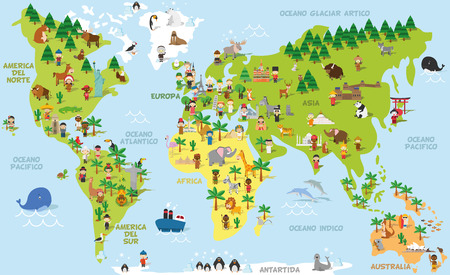 mapa del mundo divertido de la historieta con niños de diferentes nacionalidades, los animales y los monumentos de todos los continentes y océanos. Los nombres en español. Ilustración del vector para la educación preescolar y el diseño de los niños.