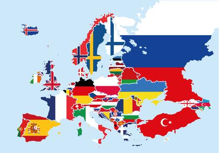 Carte de l'Europe colorée avec les drapeaux de chaque pays