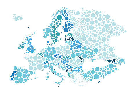 Vector illustration of political map of Europe designed with different sizes and tones of blue dots.