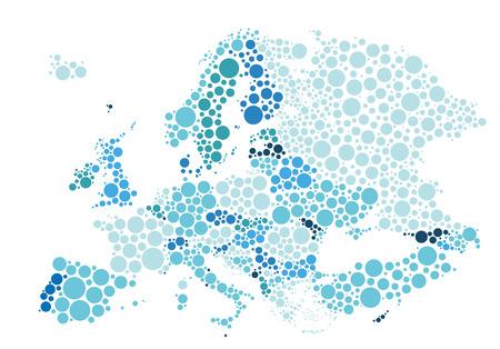 Illustration vectorielle de la carte politique de l'Europe conçue avec différentes tailles et tons de points bleus.