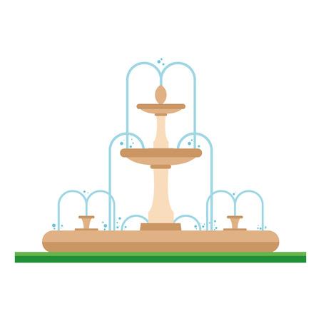 garden fountain: Cute cartoon vector illustration of a fountain in the park
