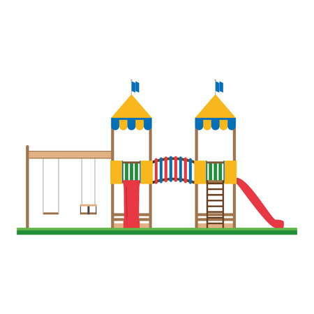recreational area: Cute cartoon vector illustration of a recreational area for little children