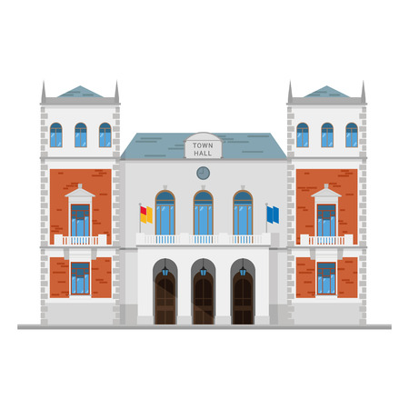 Cute cartoon vector illustration of a town hall