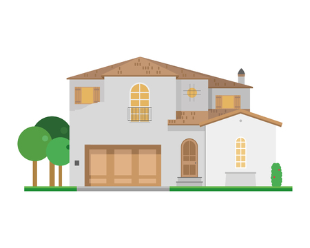 villa: Cute cartoon vector illustration of a residential villa