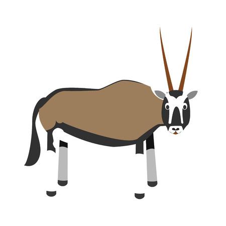 Cute cartoon vector illustration oryx gazelle