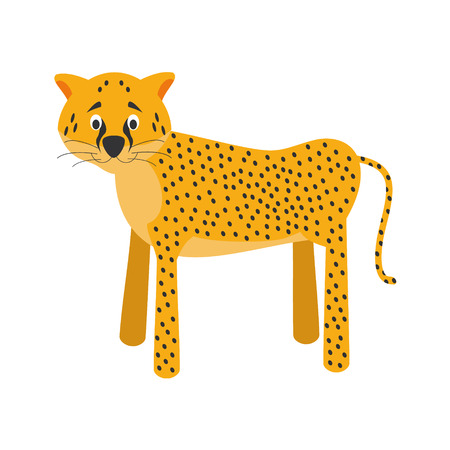 panthera: Cute cartoon cheetah vector illustration