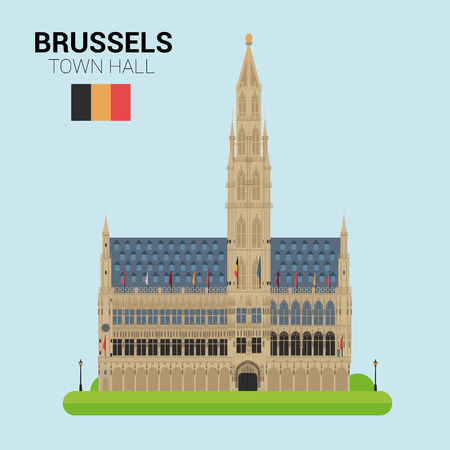 town hall: Monuments and landmarks Vector Collection: Brussels Town Hall. Illustration