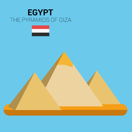 giza: Monuments and landmarks Vector Collection: The Pyramids of Giza. Illustration