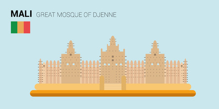 points of interest: Monuments and landmarks Vector Collection: Great Mosque of Djenne.