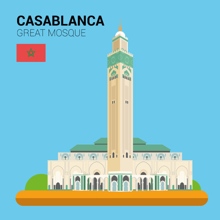 points of interest: Monuments and landmarks Vector Collection: Great Mosque of Casablanca.