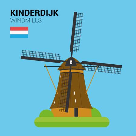 windmills: Monuments and landmarks Vector Collection: Kinderdijk Windmills.