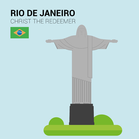 point of interest: Monuments and landmarks Vector Collection: Christ the Redeemer. Illustration