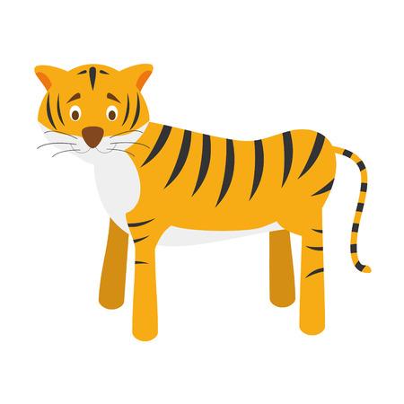 sumatran: Cute cartoon tiger vector illustration Illustration