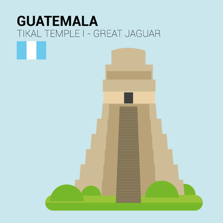 points of interest: Monuments and landmarks Vector Collection: Tikal, Great Jaguar Temple.