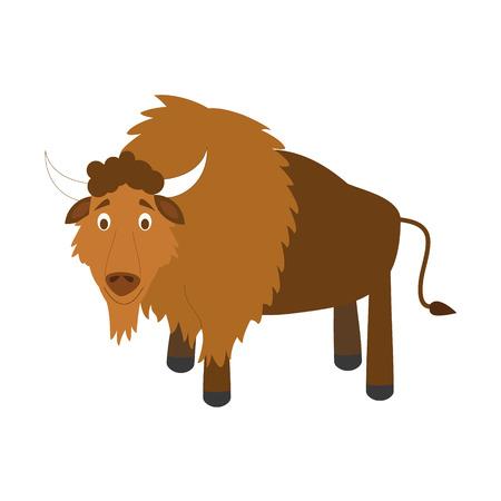 funny ox: Cute cartoon vector illustration buffalo Illustration