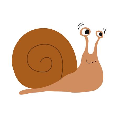 creep: Cute cartoon illustration snail vector Illustration