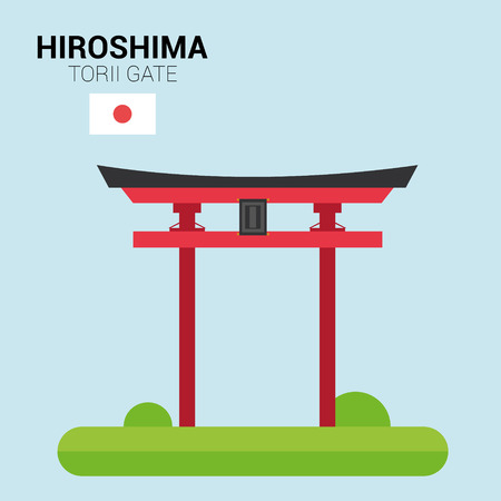 Monuments and landmarks Vector Collection: Hiroshima Torii Gate.
